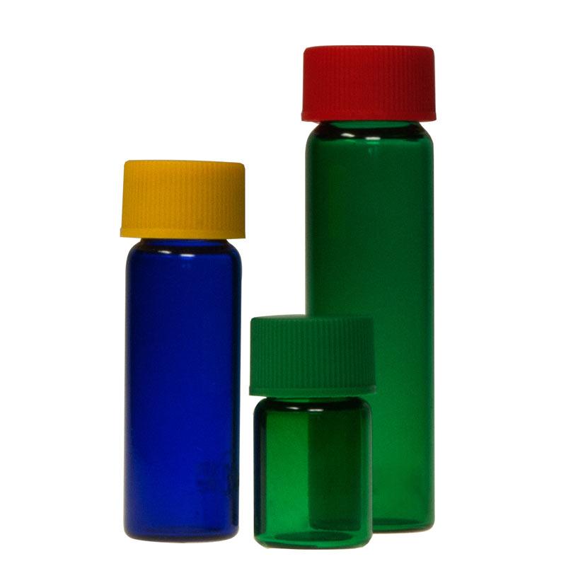 Probenflaschen aus Blauglas und Grünglas