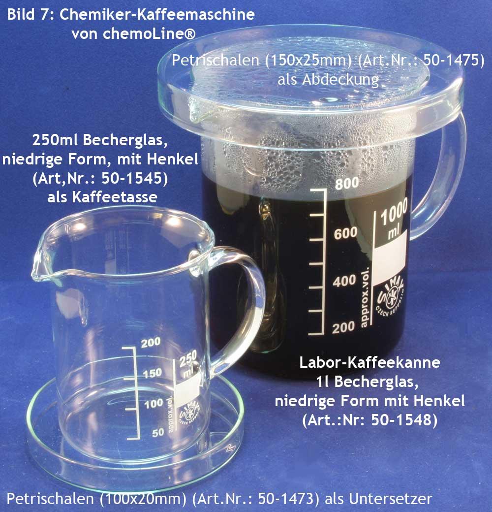 Chemiker-Kaffemaschine 7, Henkel-Bechergläser, Petrischalen