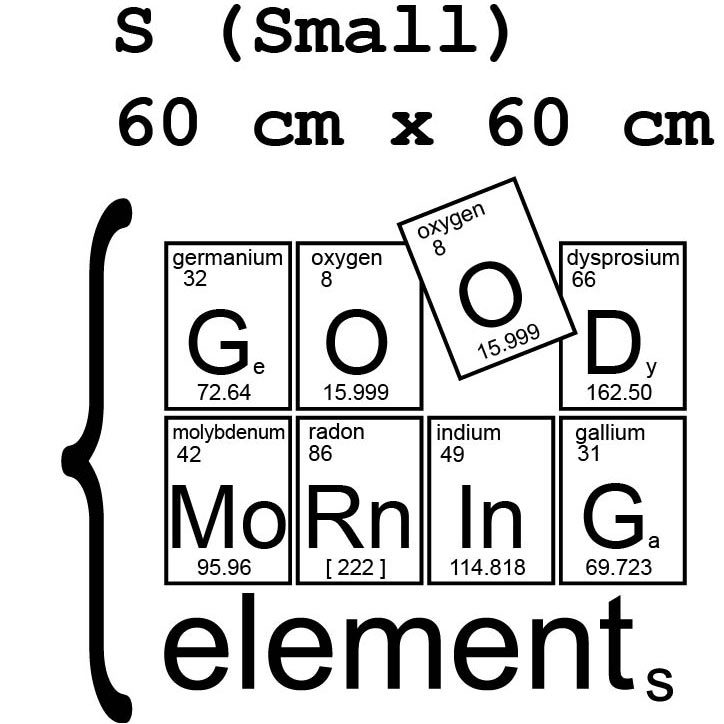 Chemie Wandtattoo Deko Aufkleber Wandfolie Good morning elements mit PSE-Elemtsymbolen
