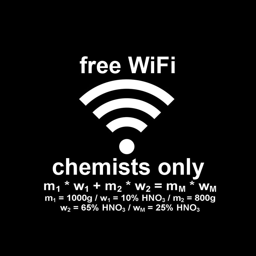 T-shirt free WiFi chemists only white print