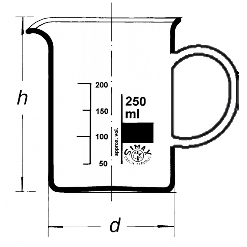 Bechergläser, niedrige Form mit seitlichem Henkel als Handgriff und Ausguss aus SIMAX® -Laborglas Skizze