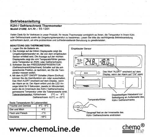 gefrierschrankthermometer kaufen bei chemoline chemoline deutschland. Black Bedroom Furniture Sets. Home Design Ideas
