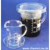 Labor-Kaffeekanne (=1L Henkel-Becherglas, Art.:Nr: 50-1548) mit Petrischalen (150x25mm) (Art.Nr.: 50-1475), Labor-Kaffeetasse (=250ml Henkel-Becherglas Art.Nr.: 50-1545) und Petrischale
