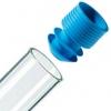 blauer Eindrück-Griffstopfen mit Lamellen-Dichtung für Proberöhrchen ohne Bördelrand