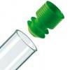 grüner Eindrück-Griffstopfen mit Lamellen-Dichtung für Proberöhrchen ohne Bördelrand