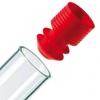 roter Eindrück-Griffstopfen mit Lamellen-Dichtung für Proberöhrchen ohne Bördelrand