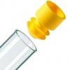 gelber Eindrück-Griffstopfen mit Lamellen-Dichtung für Proberöhrchen ohne Bördelrand