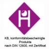 KB, konformitätsbescheinigte Produkte nach DIN 12600, mit Zertifikat