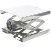 Labor-Hubtisch aus Edelstahl und Stellrad / Laboratory lift table made of stainless steel and adjusting wheel