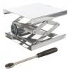 Labor-Hubtisch aus Edelstahl und mit Stellrad und Ratsche / Laboratory lift table made of stainless steel and with adjusting wheel and ratchet