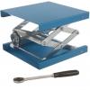 Labor-Hebebühnen mit großer Auflagefläche und für Hochlast aus Aluminium blau eloxiert mit Stellrad und Ratsche