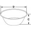 Skizze zu Laborschalen aus Edelstahl flache Form