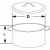 Skizze Labortopf aus Edelstahl mit oder ohne  Deckel