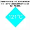 bei 121°C (2 bar) entsprechend DIN EN 285 autoklavierbar. Einschränkungen beachten!