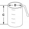 Skizze zu Messbecher graduiert, konische Form