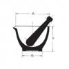 Skizze zu Glas-Reibschalen bestehend aus Mörser innen rau mit Pistill und Ausguss