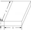 Maßskizze zu Rechteckige Edelstahl-Laborschalen mit zwei seitlichen, umklappbaren Griffen