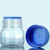 LaborflascheGLS80 mit Ausgießring+Schraubkappe aus PP-blau