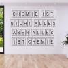 für jeden Buchstaben des Alphabets hat chemoLine® die passende Element-Zelle des Periodensystems der chemischen Elemente als selbstklebendes Wandtattoo