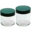 Salbentöpfe aus Klarglas (Weithals-Zylindergewindeglasflasche (Klarglas) inklusive Schraubverschluss mit PTFE beschichteter Dichteinlage)